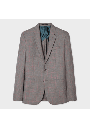 The Kensington - Men's Slim-Fit Light Blue And Taupe Check Wool Blazer