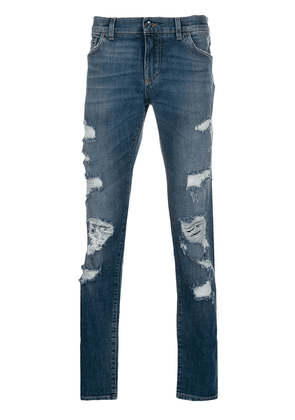 Dolce & Gabbana ripped straight jeans - Blue