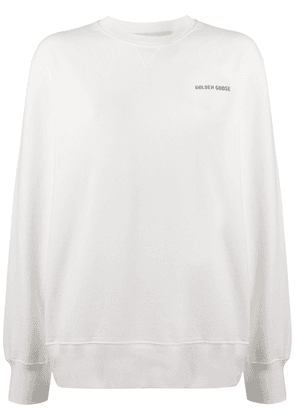 Golden Goose logo print cotton sweatshirt - White