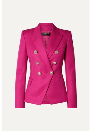 Balmain - Double-breasted Wool-twill Blazer - Fuchsia