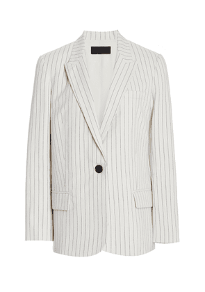 NILI LOTAN Don Pinstriped Cotton Blazer Size: 0