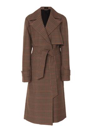 Joseph Chasa Belted Tweed Check Coat Size: 36