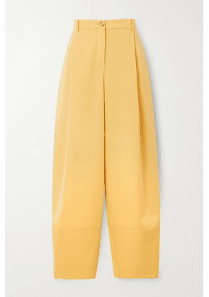 Nina Ricci - Pleated Grain De Poudre Wool Tapered Pants - Pastel yellow