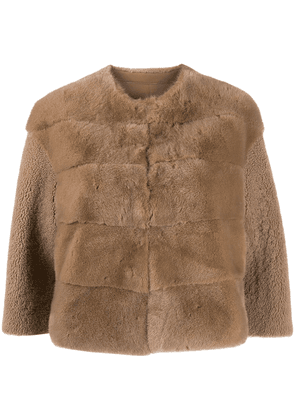 Blancha shearling cropped jacket - Brown