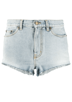 Saint Laurent ripped short denim shorts - Blue