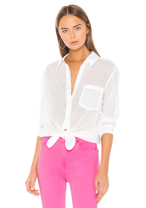 7 For All Mankind High Low Tie Shirt in White. Size S,L.