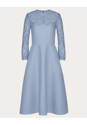 Valentino Crepe Couture And Heavy Lace Dress Women Cloud Virgin Wool 65%, Silk 35% 46
