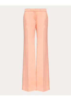 Valentino Double Fluid Satin Trousers Women Coral Silk 100% 42