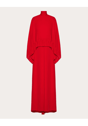 Valentino Georgette Evening Dress With Ruffles Women Red  38