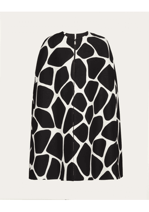 Valentino Printed Crepe Couture Cape Women Black/ivory Virgin Wool 65%, Silk 35% 38
