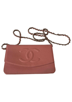 Chanel wallet on chain pink leather handbag