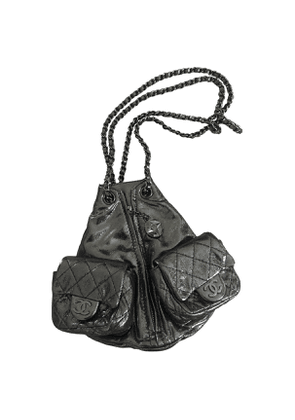 Chanel  silver leather backpacks