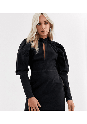 ASOS DESIGN Petite denim mini dress with puff sleeve in washed black