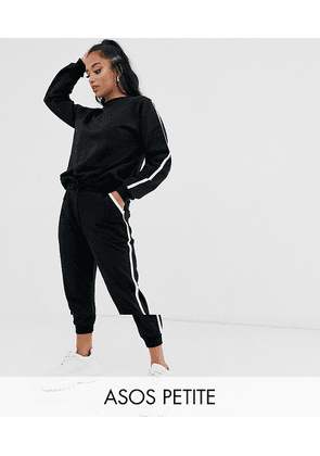 ASOS DESIGN Petite tracksuit sweat / basic jogger with tie with contrast binding-Black