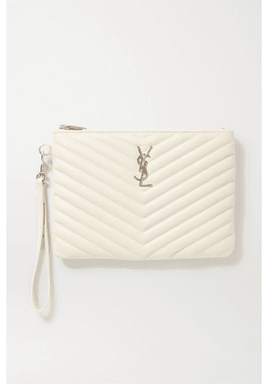 SAINT LAURENT - Monogramme Quilted Textured-leather Pouch - White