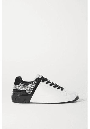 Balmain - B-court Crystal-embellished Two-tone Leather And Suede Sneakers - White