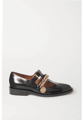 Givenchy - Chain-embellished Glossed-leather Flats - Black