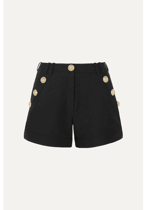Balmain - Button-embellished Cotton-faille Shorts - Black