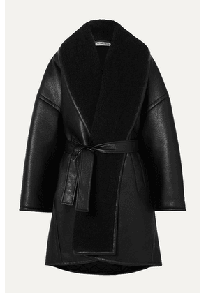 Balenciaga - Oversized Belted Faux Shearling-trimmed Faux Leather Coat - Black