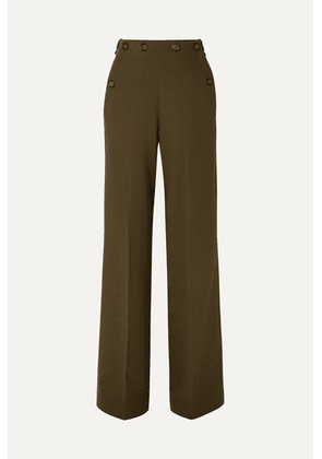 Roland Mouret - Palmetto Button-detailed Wool-crepe Wide-leg Pants - Army green