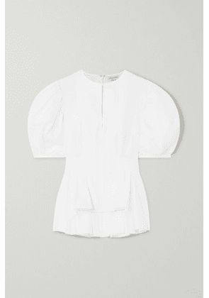 Alexander McQueen - Pleated Cotton-poplin Peplum Blouse - White