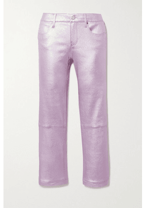 RtA - Kiki Cropped Metallic Leather Flared Pants - Violet