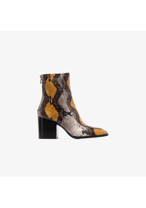 Aeyde Brown Lidia Snake Print leather Boots