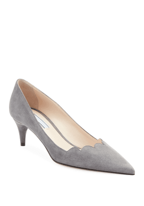 Suede Scallop Pointed Pumps
