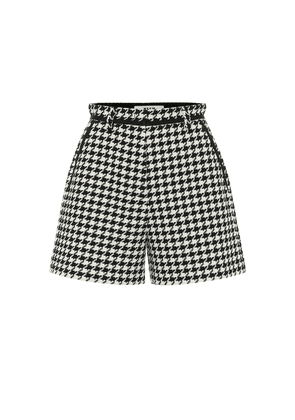 Houndstooth cotton-blend shorts