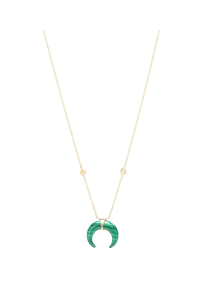 Double Horn 14kt gold and malachite necklace