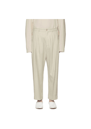 Hed Mayner Off-White Wool Pleated Trousers