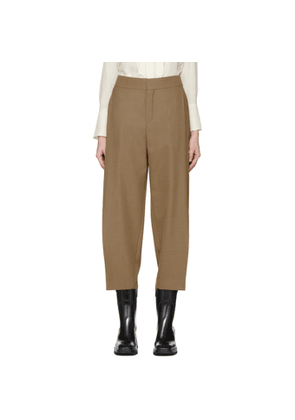 Chloe Brown Fine Wool Structured Trousers