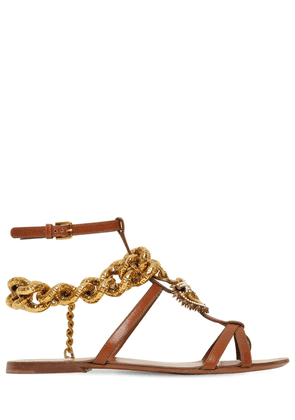 10mm Chain & Leather Thong Sandals