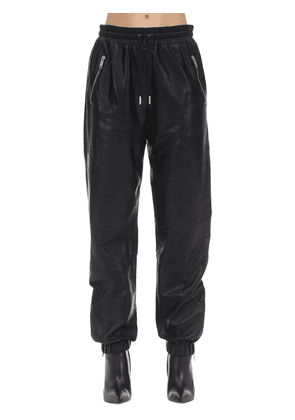 Nappa Leather Drilled Jogging Pants