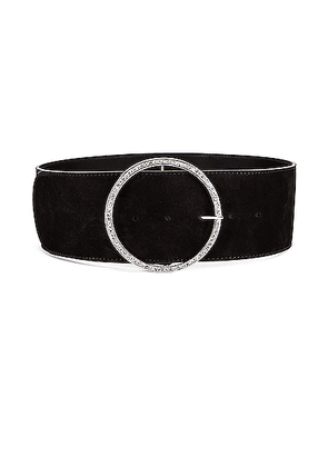 Alessandra Rich Circular Jewel Buckle Suede Belt in Black - Black. Size S (also in ).