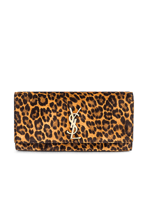 Saint Laurent Kate Leopard Clutch in Manto Naturale - Brown,Animal Print. Size all.