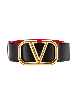 Valentino VLogo Leather Belt in Black & Red - Black. Size 75 (also in 80,85).