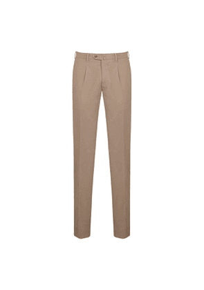 Beige Cotton Twill Pleated Trousers