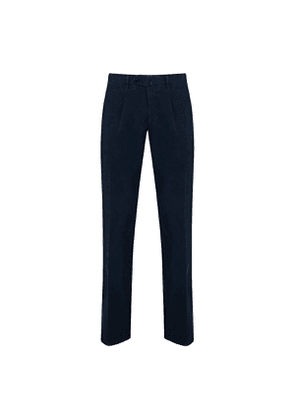 Navy Cotton Twill Pleated Trousers