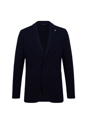 Navy Cotton Jersey Single-Breasted Jacket
