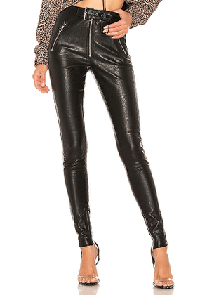 DANIELLE GUIZIO Belted Leather Pants in Black. Size XS.