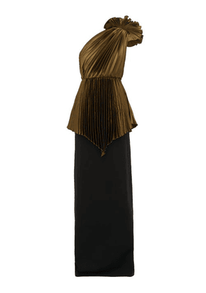 Gucci - One-shoulder Pleated-charmeuse And Cady Gown - Womens - Brown Multi