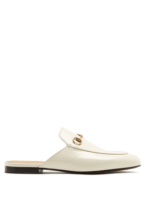 Gucci - Princetown Leather Backless Loafers - Womens - White