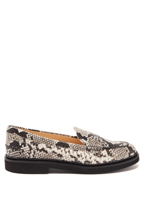 Tod's - Python-effect Leather Loafers - Womens - Black White