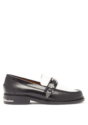 Toga - Western-strap Leather Loafers - Womens - Black White