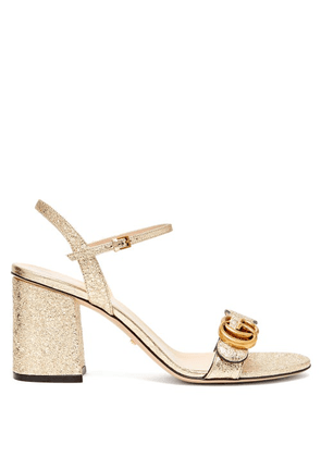 Gucci - Gg Marmont Metallic-leather Sandals - Womens - Gold