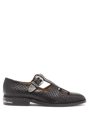 Toga - Dolly T-bar Woven-effect Leather Loafers - Womens - Black