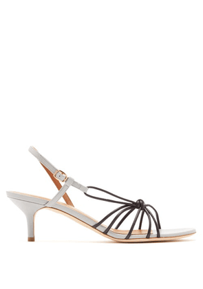 Malone Souliers - Antwerp Knotted Leather Slingback Sandals - Womens - Black Grey