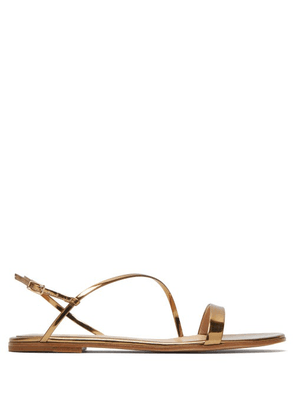 Gianvito Rossi - Simple Strap Mirrored-leather Slingback Sandals - Womens - Gold