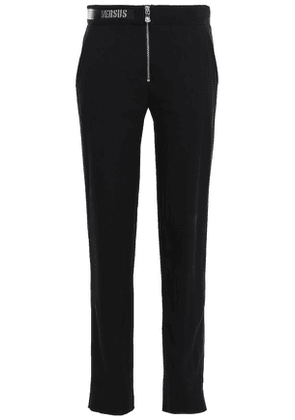 Versus Versace Leather-trimmed Chainmail-embellished Crepe Slim-leg Pants Woman Black Size 38